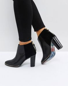 6fa8b97c8c4525 Ted Baker Azaila Black Leather Heeled Ankle Boots at asos.com