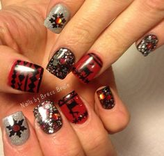 Ugly Sweater DEER DESIGN 1 Nail Decal   Black