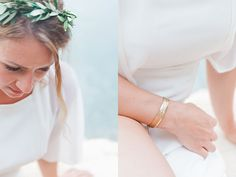 Intimate Meganisi Vow Renewal with Olive Details - Lefkas Weddings - Olive stefana wedding crowns flower garland