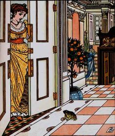 "Walter Crane. ""The frog asks to be allowed into the castle."""