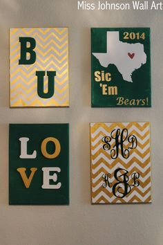 #Baylor Bears Wall Art by MissJohnsonWallArt on Etsy