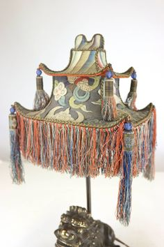Rare Exotic 1920s Chinoiserie Lamp of Tasseled Pagoda Shade with Foo Dog Base image 3