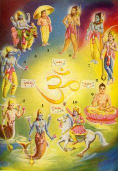Segundo o Hinduísmo, Vishnu  configura 10 avatares, que aparecem ao mundo quando um grande mal ameaça a Terra; foram eles: Matsya, o Peixe; Kurma, a Tartaruga; Varaha, o Javali; Narasimha, o Homem-Leão; Vamana, o Anão; Parashurama, o Homem com o machado; Rama, o arqueiro; Krishna; Buda, o Iluminado (Sidarta Gautama); Kalki, o espadachim montado a cavalo que ainda está por vir.