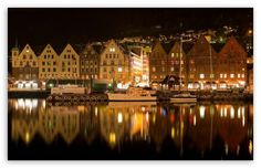Bergen, Norway at night.
