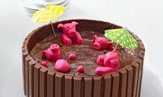 Motivtorten: Schweinchen im Matschkübel