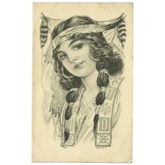 Vintage Postcard of Native American Indian Maiden 1913 Traditional Tattoo Girls, Traditional Tattoo Old School, American Indian Girl, Native American Girls, Vintage Flash, Vintage Art, Mujeres Tattoo, Blackwork, Vintage Illustration Art