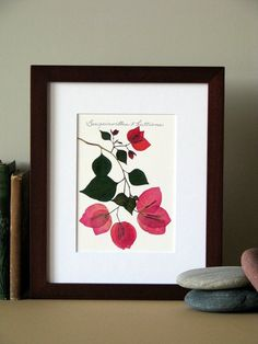 Pressed flower print 8 x 10 matted by FlatFlowerDesigns on Etsy