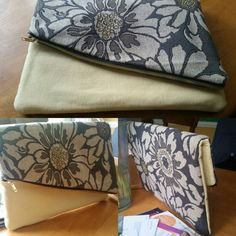 """Clutch made from upholstery fabric samples - two swatches, 14"""" zipper and lining."""