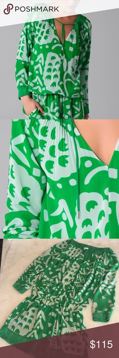 Diane Von Furstenberg Mikino Dress DVF Mikino Dress in a size 8. A fun green and white print that is perfect for brunch or the beach!  The top of the dress features pleats with pockets on the bottom. There is a small slight pull in the fabric, near the top that is reflected in the photos. Gorgeous condition! Diane Von Furstenberg Dresses Long Sleeve