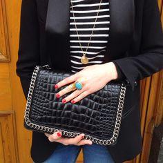 ZARA Croc & Chain bag