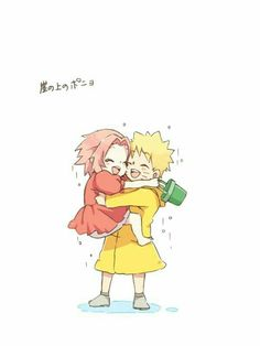 Naruto, Sakura, couple, outfits, Ponyo by the Cliff by the Sea, Studio Ghibli, crossover, cute, text; Naruto