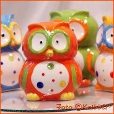 #Keramik #Spardose - eine #Eule als #Sparschwein #Sparstrumpf in #Orange #Bunt - jetzt bei #Knibbli auf Knibbli.com