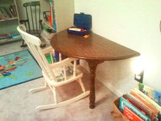 Space-saving, inexpensive activity table for kids. Round expandable dining table with leaf bought on craigslist ($5). Remove expansion brackets underneath. Cut 6 inches off the legs. Attach half of the table to wall with L-brackets (or screw a 1x3 piece of wood) into the studs in the wall. Half Table, Dining Table With Leaf, Custom Furniture, Wood Furniture, Expandable Dining Table, Tv Cabinets, Cabinet Ideas, Dressing Table, 6 Inches