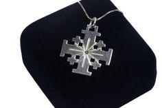 Small Jerusalem Cross Pendant Sterling Silver by KeyStoneJewels