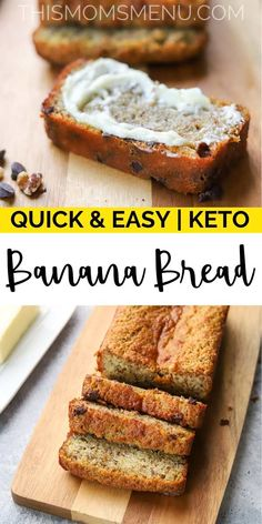 This Keto Banana Bread is exactly what you have been missing on your ketogenic diet! It makes the perfect low carb snack or quick keto breakfast. Try it with your favorite additions, like chocolate chips or chopped nuts. Low Carb Chicken Recipes, Healthy Low Carb Recipes, Low Carb Desserts, Keto Recipes, Healthy Nutrition, Bread Recipes, Soup Recipes, Beginner Recipes, Nutrition Guide