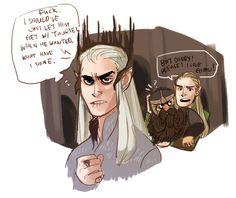 lord of the rings the hobbit LOTR doodle gimli legolas Thranduil Legolas and Gimli