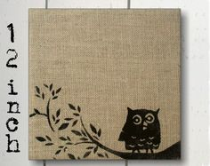 Owl on Branch -  Burlap Feed Sack over Cork Message Board 12 inch