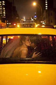 rainy taxi ride