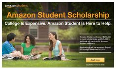 $5,500 Amazon Student Scholarship ($5k for tuition and a $500 Amazon gift card for books). Deadline November 20. Fifty scholarships available.