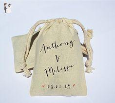Thank You Wedding Cotton Muslin Bag - Wedding Party Favor Bag - Personalized Cotton Muslin Party Favor Bag - Jacques & Gilles font - Wedding favors (*Amazon Partner-Link)