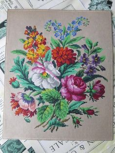Beautiful Antique Hand Painted Berlin Woolwork Chart- Spring Bouquet | eBay