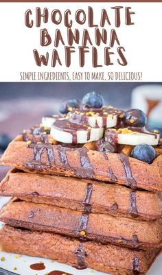 Fluffy and full of chocolate flavor, these healthy Chocolate Banana Waffles are perfect indulgent yet guilt-free breakfast! They are made with WHOLESOME ingredients, filled with chocolate and made without ADDED SUGARS. Super simple and taste amazing. ---- #breakfast #breakfastrecipes #breakfasttime #breakfastideas #healthybreakfast #healthybreakfastideas #waffles #wafflesforbreakfast #chocolate #chocolatelover #chocolatewaffles #darkchocolate Delicious Breakfast Recipes, Savory Breakfast, Sweet Breakfast, Breakfast Club, Breakfast Dishes, Healthy Dessert Recipes, Brunch Recipes, Breakfast Ideas, Delicious Desserts