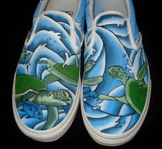 Hand Painted Vans  Turtles by TKDealShoes on Etsy, $135.00