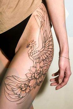 Phoenix Tattoo Design with Flowers Tattoo - Tattoos - Phoenix Design, Phoenix Tattoo Design, Design Tattoo, Tattoo Designs Men, Phoenix Tattoo Feminine, Grey Ink Tattoos, Leg Tattoos, Body Art Tattoos, Tattoos Pics