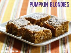 Pumpkin Blondies // It's Fall Cookie Week at Inspired by Charm. Visit every day for a new recipe!