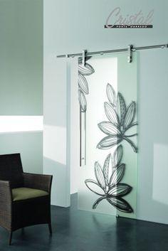 42 porta scorrevole ad un anta in vetro satinato con decoro-bu ... - Porte In Vetro Decorate Moderne