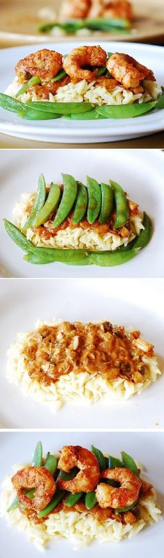 Spicy shrimp with curry sauce, snap peas and orzo
