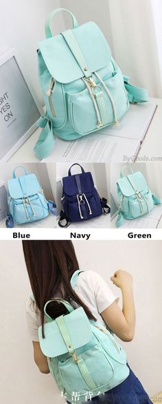 Lovely Mint Green Canvas Schoolbag Sweet Student Buckle Solid Backpack for my sister! #green #Mint #sweet #backpack #Bag #school #college #student #girl #rucksack #travel #leisure