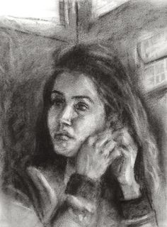 Face #45 © Prabha Narayanan A4 size, Charcoal on paper www.prabhanarayan... #face #charcoal #drawing #painting #paper #India #Bombay #Mumbai #Trains #Local #India #portraits #traditional #artist #art #city #commute