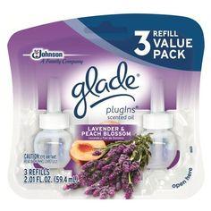 Glade PlugIns Lavender  Peach Blossom Scented Oils Refills 3 count 201 fl oz