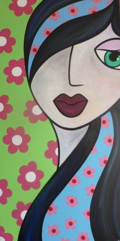 Hippy Chick, acrylic on canvas, by Louise MacIntosh-Watson 50x100cm