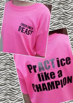 Practice like a Champion, Cheer shirt, tshirt, choice of size and colors! by CurlyNoodleCreations on Etsy https://www.etsy.com/listing/221190850/practice-like-a-champion-cheer-shirt