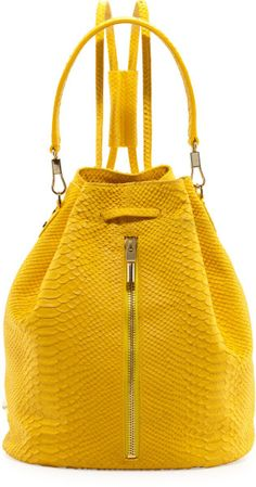 Elizabeth And James Cynnie Pythonembossed Drawstring Backpack Lemon Zest in Yellow (lemon)