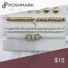 White Bracelet Stack With 3 Earring Stud Set 18K gold plated metals, Nickel free and Lead free. You get 3 bracelets and 3 pairs of earrings  💄No Trades 💸Reasonable offers welcome  ❌No Lowballs 💕Love notes are appreciated **Please accept the order once you have received it so the transaction will be completed** If not accepted within 3 days, you will be blocked from my closet** T&J Designs Jewelry Bracelets