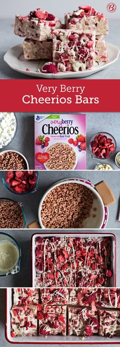 No-bake bars get a berry makeover in these Very Berry Cheerios bars. Filled with freeze-dried strawberries or raspberries and paired with Very Berry Cheerios cereal, white vanilla baking chips and a l(Cheerio Snack Mix) Cereal Treats, Rice Krispie Treats, Cheerios Cereal, Kashi Cereal, Trix Cereal, Baby Cereal, Yummy Treats, Sweet Treats, Yummy Food