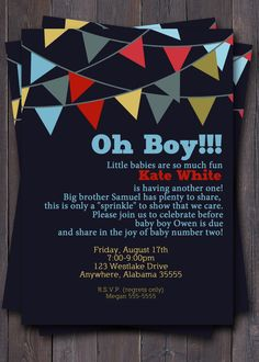 Baby Boy Sprinkle Invitations Lovely Banner Bunting Baby Shower Invitation Baby Sprinkle or Sip N Baby Boy Sprinkle, Sprinkle Shower, Baby Shower Invitation Wording, Baby Shower Invitations For Boys, Invitation Ideas, Invitation Design, Invites, Second Baby Showers, Baby Boy Shower