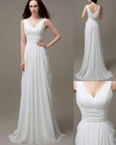 Basic v neck goddess drape back sleeveless white evening dress