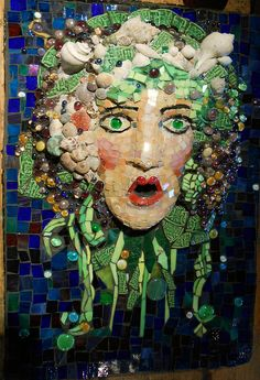 Lady Bacchus Fountain by Grandmother Moon Mosaics