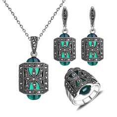 Women Gift Unique Design Antique Silver Plated Green Resin And Rhinestone Fashion Vintage Jewelry Set With Necklace Earring Ring //Price: $21.90 & FREE Shipping // Get it here ---> https://bestofnecklace.com/women-gift-unique-design-antique-silver-plated-green-resin-and-rhinestone-fashion-vintage-jewelry-set-with-necklace-earring-ring/    #Wedding_jewellery