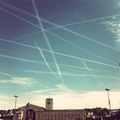 Chemtrails crisscrossing the sky