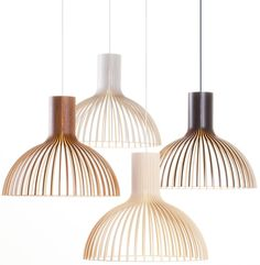 Victo 4250 pendant light is designed by Seppo Koho and made by Secto Design, Finland. The natural birch wood gives the light a warm and reflecting light. The concealed light bulb prevents the light from blinding and casting shadows. Deco Luminaire, Luminaire Design, Berlin Design, Lampe Decoration, Suspension Design, Luz Natural, Walnut Veneer, Lamp Bases, Scandinavian Design