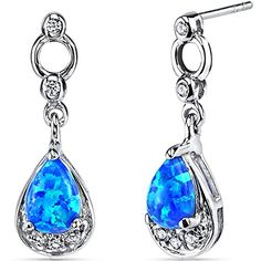 Created Blue Opal Dangling Earrings Sterling Silver Tear Drop ** Read more by visiting the link on the image.