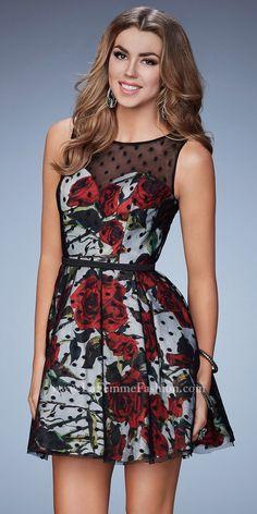 Rose Print Polka Dot Overlay Homecoming Dress by La Femme #edressme