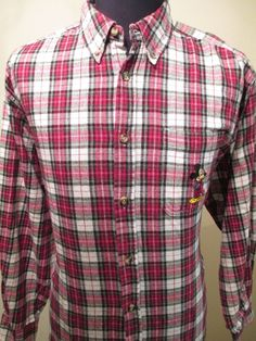 DISNEY MICKEY MOUSE SHIRT Men Size Large Plaid Flannel Buffalo Lumberjack Store #Disney #ButtonFront