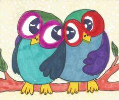 Owl Art Whimsical Art Owl Decor Mixed Media by AGirlAnOwlAndACat, $10.00