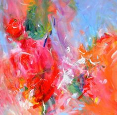 This pair of modern abstract paintings will add a burst of color and flare to your living room. This is a pair of two bright abstract paintings.